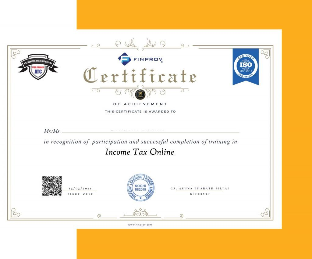 Income Tax Online certificate